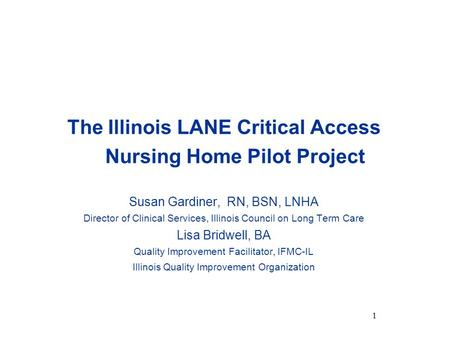 The Illinois LANE Critical Access Nursing Home Pilot Project Susan Gardiner, RN, BSN, LNHA Director of Clinical Services, Illinois Council on Long Term.