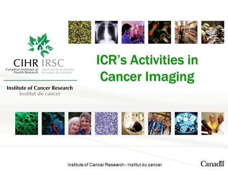 Institute of Cancer Research - Institut du cancer ICR's Activities in Cancer Imaging.