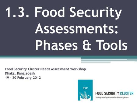 1.3. Food Security Assessments: Phases & Tools Food Security Cluster Needs Assessment Workshop Dhaka, Bangladesh 19 – 20 February 2012.
