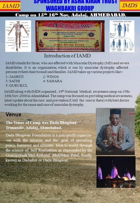 IAMD IMDS SPONSORED BY ASHA KIRAN TRUST WAGHBAKRI GROUP Camp on 15 th 16 th Nov, Adalaj, AHMEDABAD. Introduction of IAMD IAMD stands for those, who are.