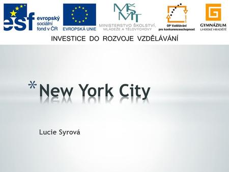 Lucie Syrová. * General facts * History * Manhattan * Culture * Shopping & sports.