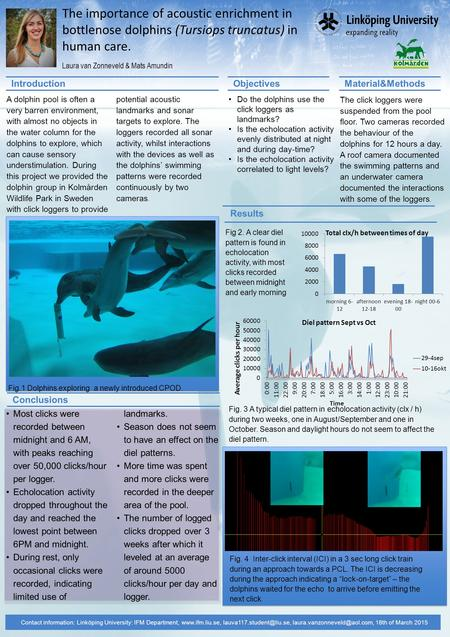 The importance of acoustic enrichment in bottlenose dolphins (Tursiops truncatus) in human care. Laura van Zonneveld & Mats Amundin Contact information: