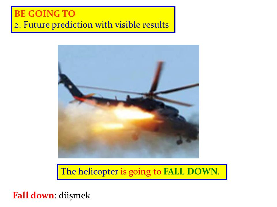 BE GOING TO 2.Future prediction with visible results The plane is going to take off.