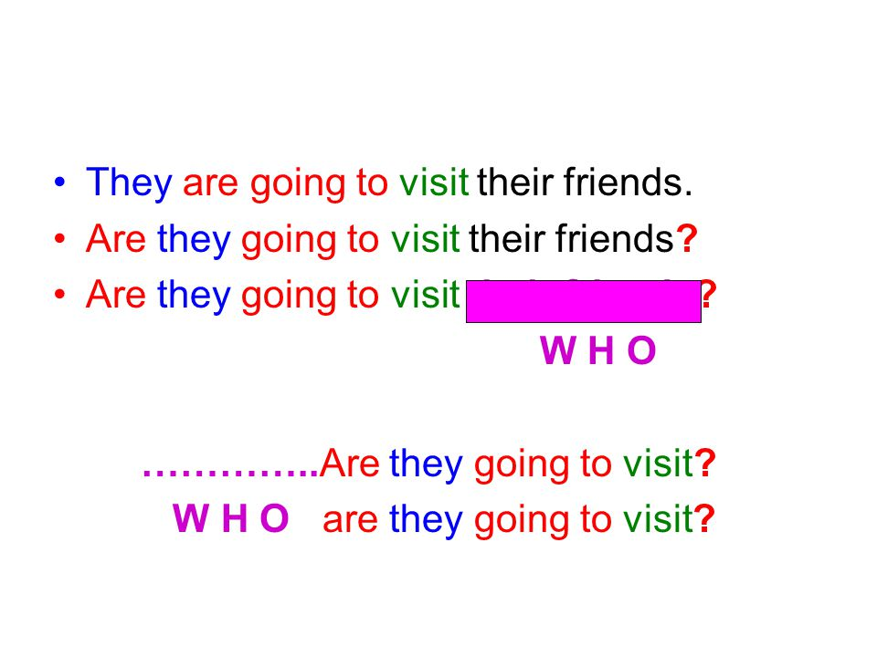 FİİL what ve do ile sorulur •They are going to visit their friends.