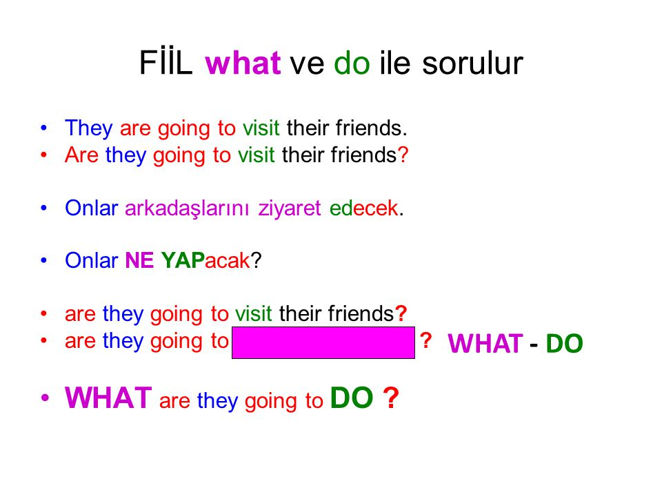 FİİL what ve do ile sorulur •Ali is going to paint the wall.