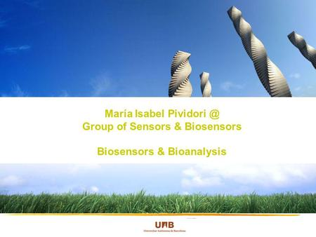 María Isabel Group of Sensors & Biosensors Biosensors & Bioanalysis.