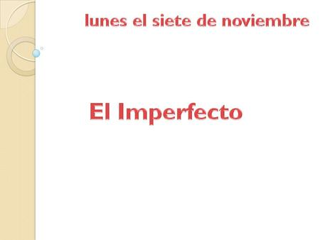 The imperfect is one of many past tenses in Spanish. It is one of the tenses that you will be expected to use in your exams in order to achieve a C or.