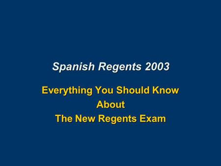What can i write about for my spanish regents tomorrow?