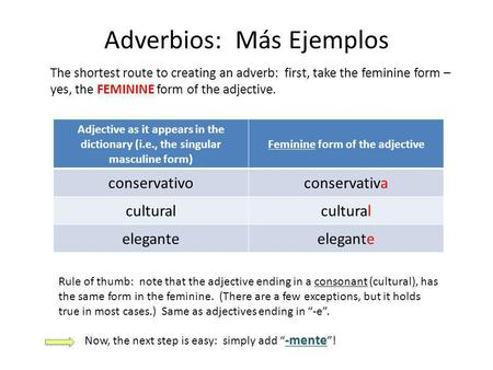 Adverbios: Más Ejemplos The shortest route to creating an adverb: first, take the feminine form – yes, the FEMININE form of the adjective. Adjective as.