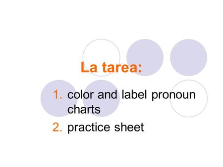 La tarea: 1.color and label pronoun charts 2.practice sheet.
