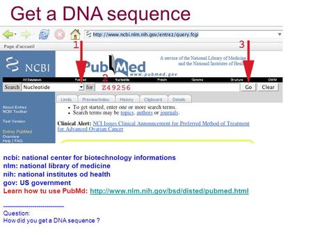 Get a DNA sequence ncbi: national center for biotechnology informations nlm: national library of medicine nih: national institutes od health gov: US government.