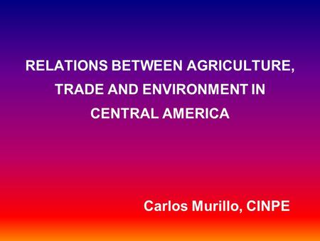 RELATIONS BETWEEN AGRICULTURE, TRADE AND ENVIRONMENT IN CENTRAL AMERICA Carlos Murillo, CINPE.