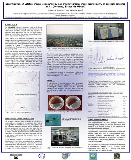 Identification of volatile organic compounds by gas chromatography-mass spectrometry in aerosols collected at T1 (Tecamac, Estado de México) Sandra I.