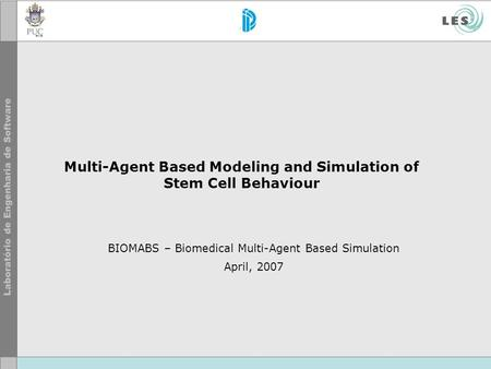Multi-Agent Based Modeling and Simulation of Stem Cell Behaviour BIOMABS – Biomedical Multi-Agent Based Simulation April, 2007.
