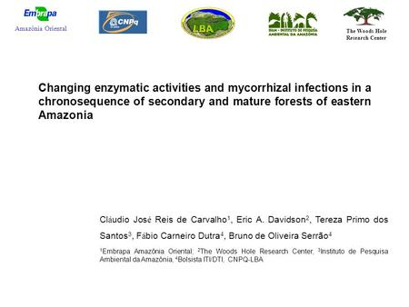 Changing enzymatic activities and mycorrhizal infections in a chronosequence of secondary and mature forests of eastern Amazonia Cl á udio Jos é Reis de.