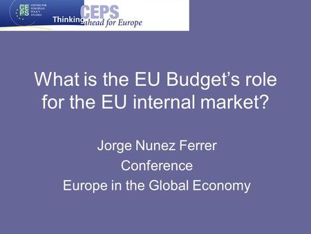 What is the EU Budgets role for the EU internal market? Jorge Nunez Ferrer Conference Europe in the Global Economy.