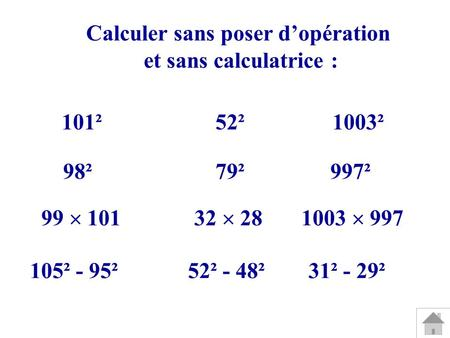 101²52²1003² 98²79² Calculer sans poser dopération et sans calculatrice : 997² 99 10132 281003 997 105² - 95²52² - 48²31² - 29²