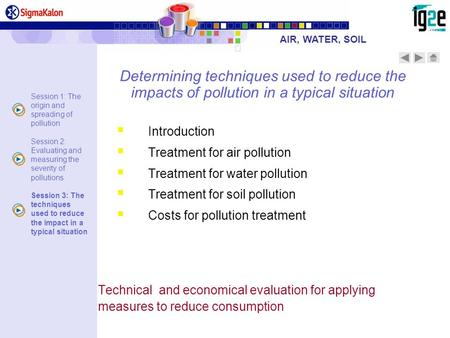 Determining techniques used to reduce the impacts of pollution in a typical situation Introduction Treatment for air pollution Treatment for water pollution.