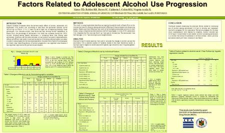 Factors Related to Adolescent Alcohol Use Progression Matos TD, Robles RR, Reyes JC, Calderón J, Colón HM, Negrón-Ayala JL CENTER FOR ADDICTION STUDIES,