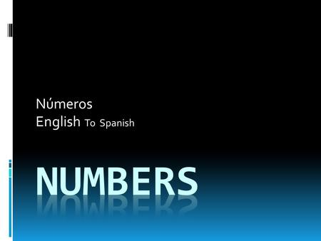 Números English To Spanish. One Uno Two  Dos.
