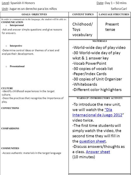 Level: Spanish II Honors Unit: Jugar es un derecho para los niños Date: Day 1 – 50 mins Señora Carl -World-wide day of play video -30 World-wide day of.