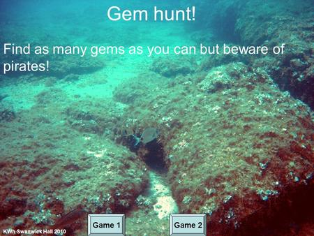 Gem hunt! Find as many gems as you can but beware of pirates! KWh Swanwick Hall 2010 Game 1Game 2.