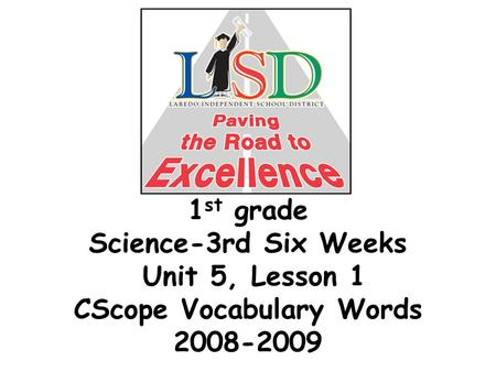 1 st grade Science-3rd Six Weeks Unit 5, Lesson 1 CScope Vocabulary Words 2008-2009.