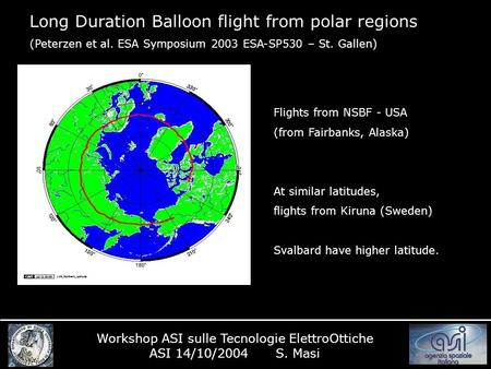 Long Duration Balloon flight from polar regions (Peterzen et al. ESA Symposium 2003 ESA-SP530 – St. Gallen) Workshop ASI sulle Tecnologie ElettroOttiche.