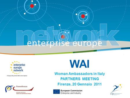 WAI Woman Ambassadors in Italy PARTNERS MEETING Firenze, 20 Gennaio 2011 European Commission Enterprise and Industry.