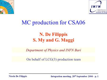Nicola De Filippis Integration meeting, 28 th September 2006 - p. 1 MC production for CSA06 Department of Physics and INFN Bari N. De Filippis S. My and.