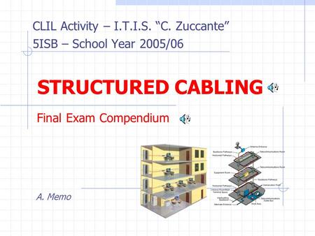 CLIL Activity – I.T.I.S. C. Zuccante 5ISB – School Year 2005/06 A. Memo STRUCTURED CABLING Final Exam Compendium.
