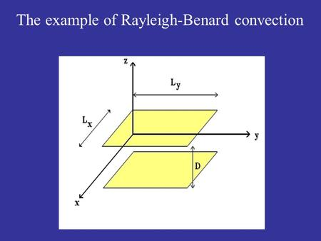 The example of Rayleigh-Benard convection. Pattern-forming instabilities: The example of Rayleigh-Benard convection.