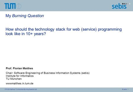 © sebis 1070128-Matthes-TU-München-Burning-Question.ppt My Burning Question How should the technology stack for web (service) programming look like in.