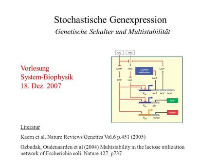 Stochastische Genexpression Literatur Kaern et al. Nature Reviews Genetics Vol.6 p.451 (2005) Ozbudak, Oudenaarden et al (2004) Multistability in the lactose.