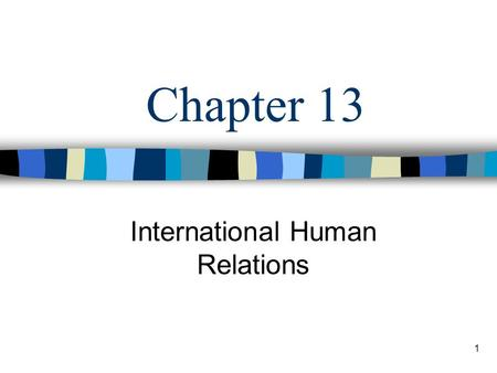 1 Chapter 13 International Human Relations. 2 Learning Objectives Define the term multinational enterprise and discuss four major reasons why companies.