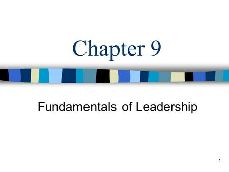 1 Chapter 9 Fundamentals of Leadership. 2 Learning Objectives Describe the leadership and personal characteristics related to managerial effectiveness.