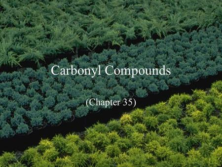 Carbonyl Compounds (Chapter 35). Carbonyl compounds C O Carbonyl group sp 2 hybridized carbon Coplanar bonds, 120 o bond angle p-p overlap bond Two types.