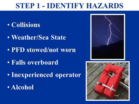 STEP 1 - IDENTIFY HAZARDS Collisions Weather/Sea State PFD stowed/not worn Falls overboard Inexperienced operator Alcohol.