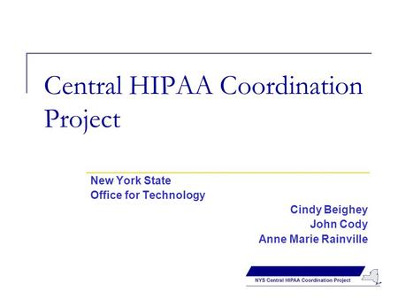 Central HIPAA Coordination Project New York State Office for Technology Cindy Beighey John Cody Anne Marie Rainville.