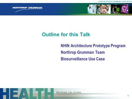 Outline for this Talk NHIN Architecture Prototype Program