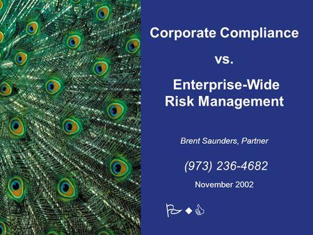 PwC Corporate Compliance vs. Enterprise-Wide Risk Management Brent Saunders, Partner (973) 236-4682 November 2002.