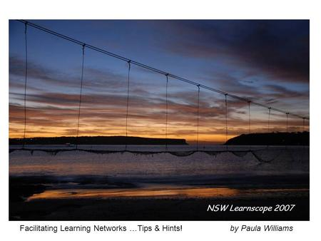Facilitating Learning Networks …Tips & Hints! by Paula Williams NSW Learnscope 2007.