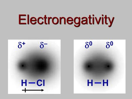 Electronegativity + – 0 0 HClHH. Electronegativity Electronegativity describes how electrons are shared in a compound Consider the compound HCl The electron.