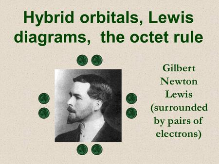 Gilbert Newton Lewis (surrounded by pairs of electrons) Hybrid orbitals, Lewis diagrams, the octet rule.
