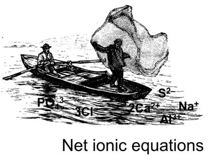 Net ionic equations Na + Al 3+ S 2– 2Ca 2+ PO 4 3– 3Cl –
