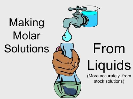 Making Molar Solutions From Liquids (More accurately, from stock solutions)