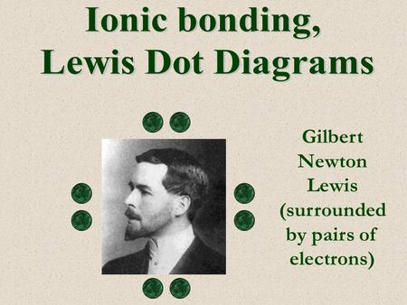 Gilbert Newton Lewis (surrounded by pairs of electrons)