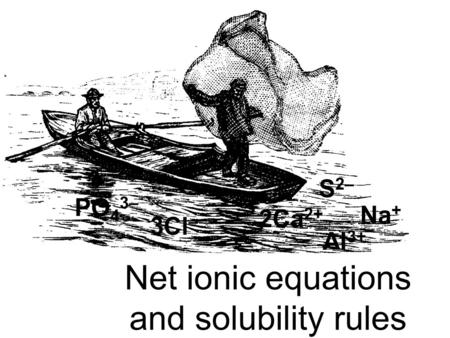 Na + Al 3+ S 2– 2Ca 2+ PO 4 3– 3Cl – Net ionic equations and solubility rules.