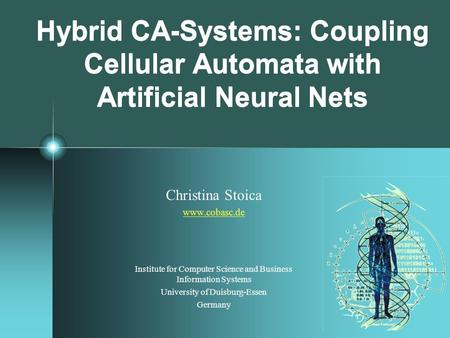 Hybrid CA-Systems: Coupling Cellular Automata with Artificial Neural Nets Christina Stoica www.cobasc.de Institute for Computer Science and Business Information.