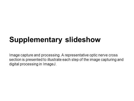 Supplementary slideshow Image capture and processing. A representative optic nerve cross section is presented to illustrate each step of the image capturing.